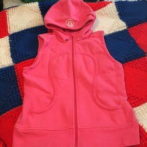 Lululemon Pink Scuba Vest Hoodie